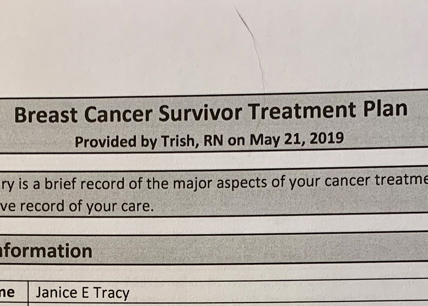 I am officially a Breast Cancer Survivor. Says so right here. (Is that my hair? Falling out right on the cancer report? A. Pro. Po.)
