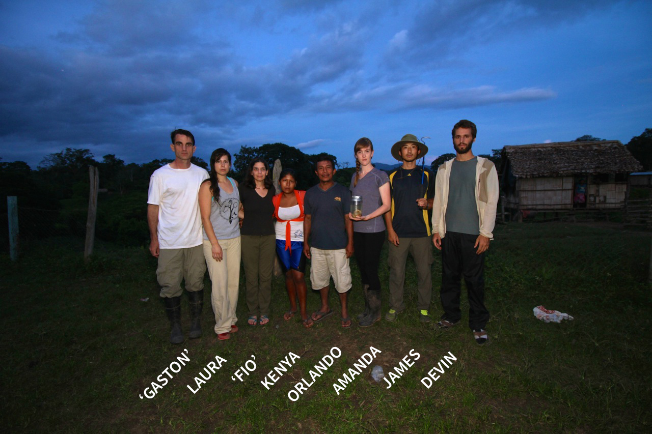 "From left to right: PI Jeremy ""Gaston"" Koster of University of Cincinnati; Laura Schwartz, 3rd year vet at UC Davis; Dr. Christine Fiorello (""Fio"") veterinary mentor from UC Davis; Kenya, leader of women's group in Wina and the team's liaison in the area; Orlando, former president of the Bosawas Biosphere Reserve who lives in Amak. Served as guide during the trip; Amanda Campbell, 2nd year vet student at UC Davis (and narrator of the story below); James Liu, 4th year veterinary student at UC Davis (and photographer); Devin Von Stade, 2nd year veterinary student at UC Davis."