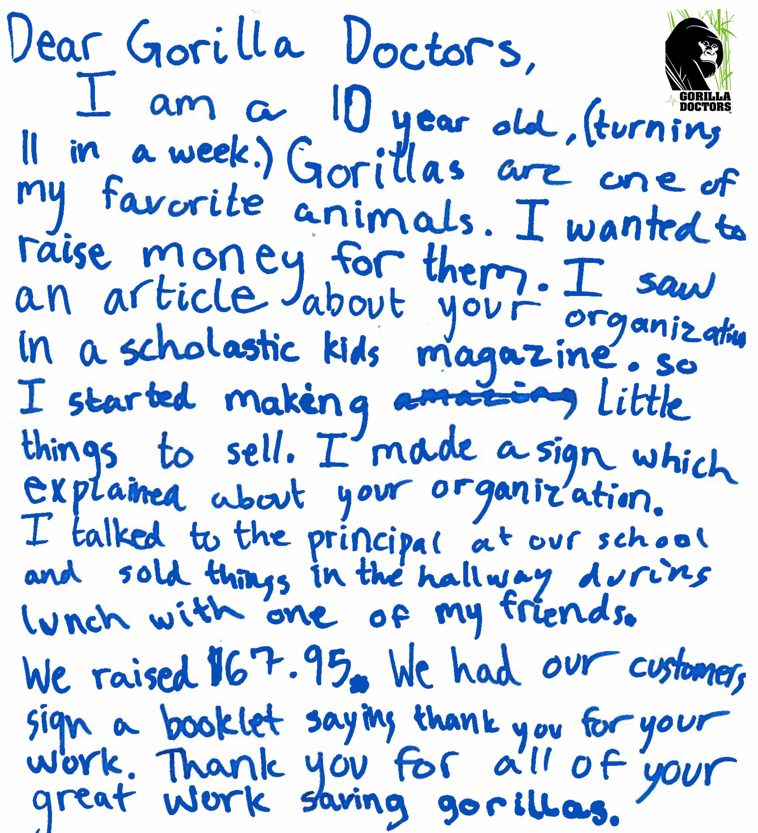 Raising money at school for gorillas.