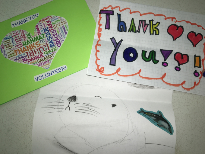 Thanking a volunteer.