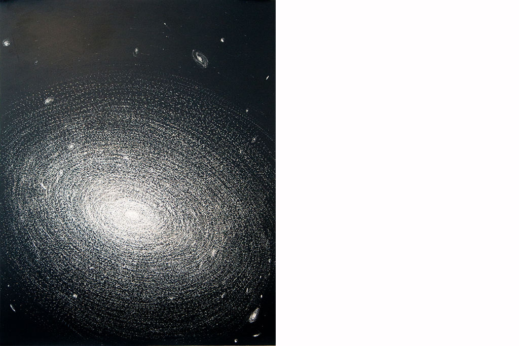 Galaxies  2016  Using an electric engraver, images of specific galaxies were scratched into black sheet metal exposing the bright metal beneath.  Largest: 22 x 30cm   NGC 1132
