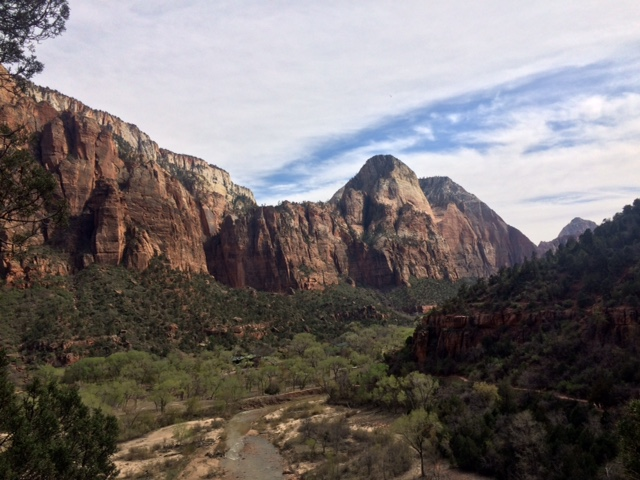 Zion National Park. (For scale, look down at the trees!)