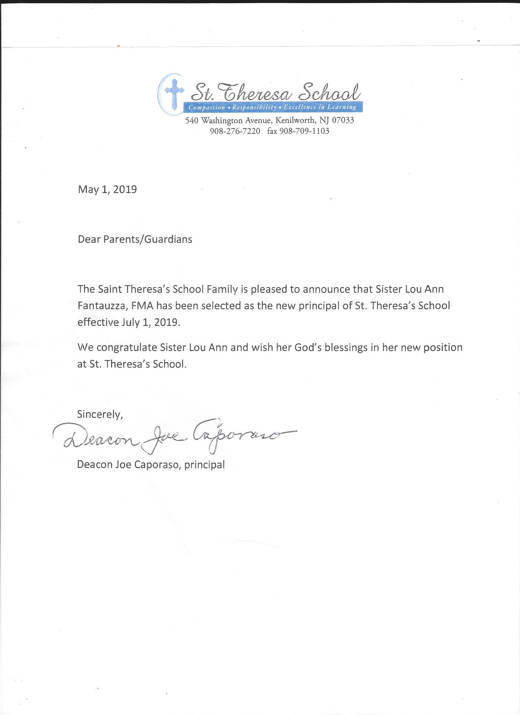 LETTERS FROM THE PRINCIPAL / THURSDAY FOLDERS — ST  THERESA SCHOOL