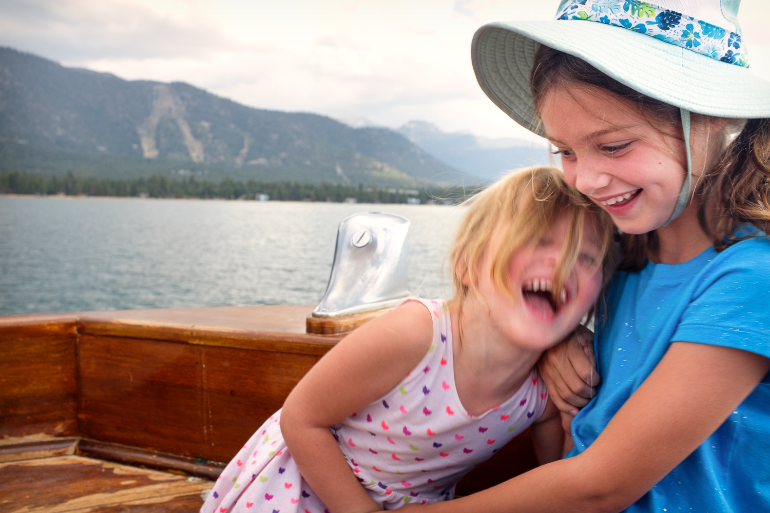 Goofing around on a lake cruise