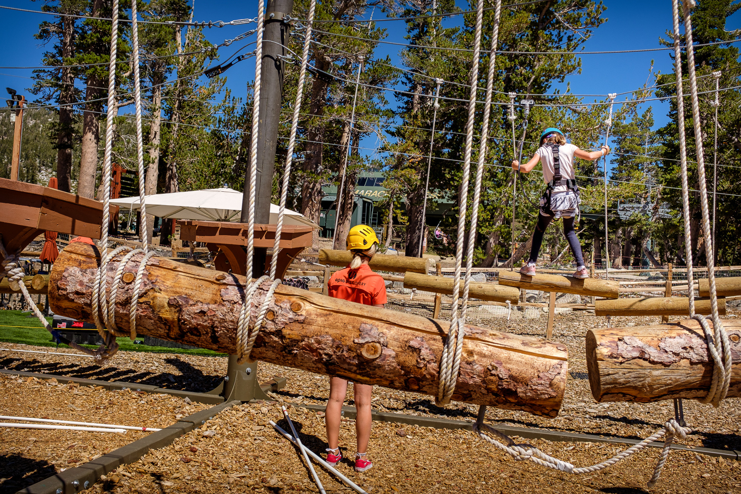 Quinn on a ropes course at Heavenly