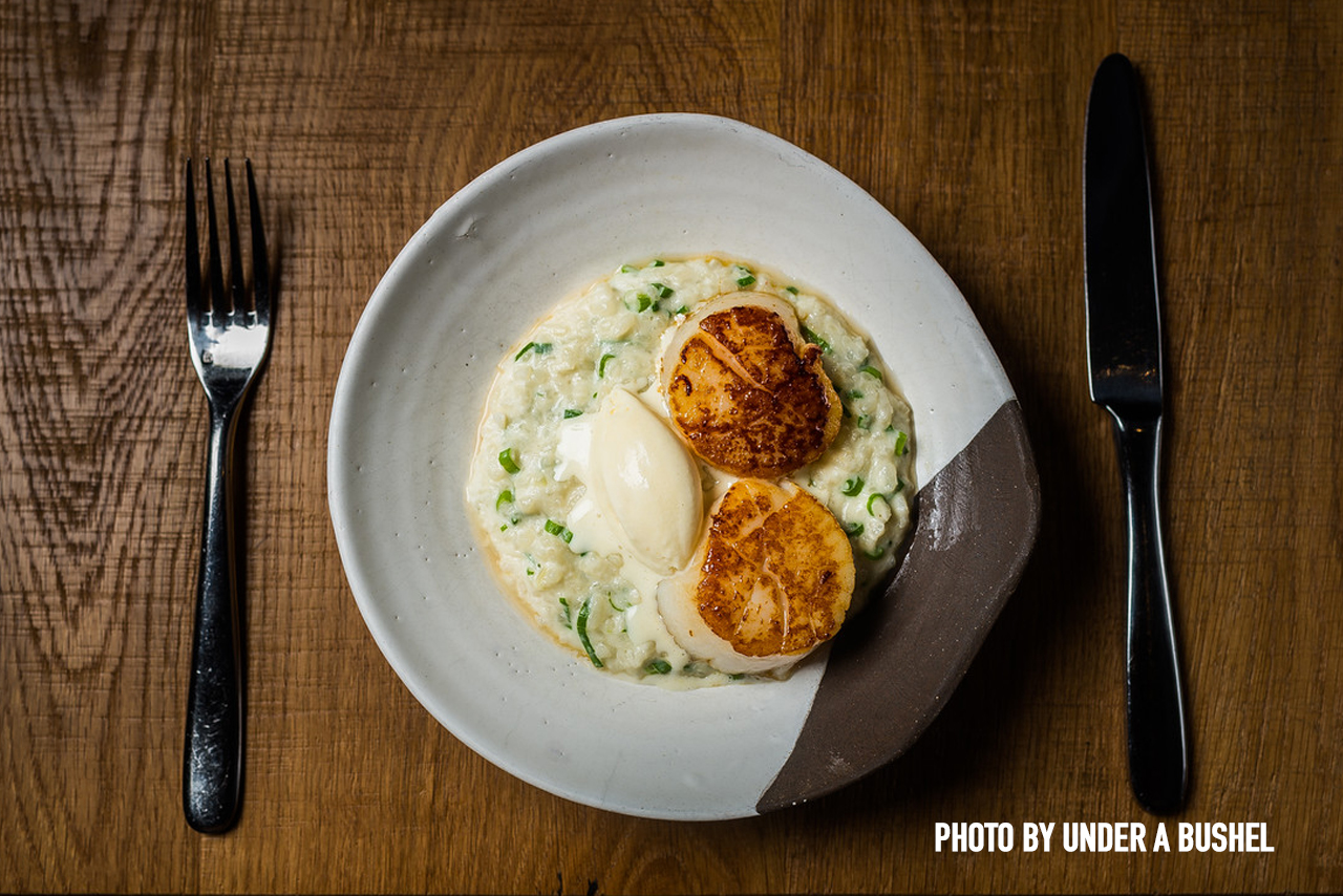 Scallops with coconut risotto and Thai basil ice cream