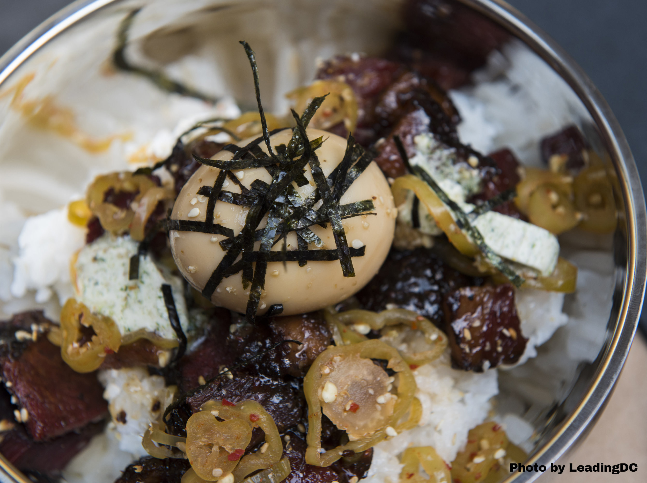 Wagshal's chopped brisket with soy brined soft egg, furikake butter and rice