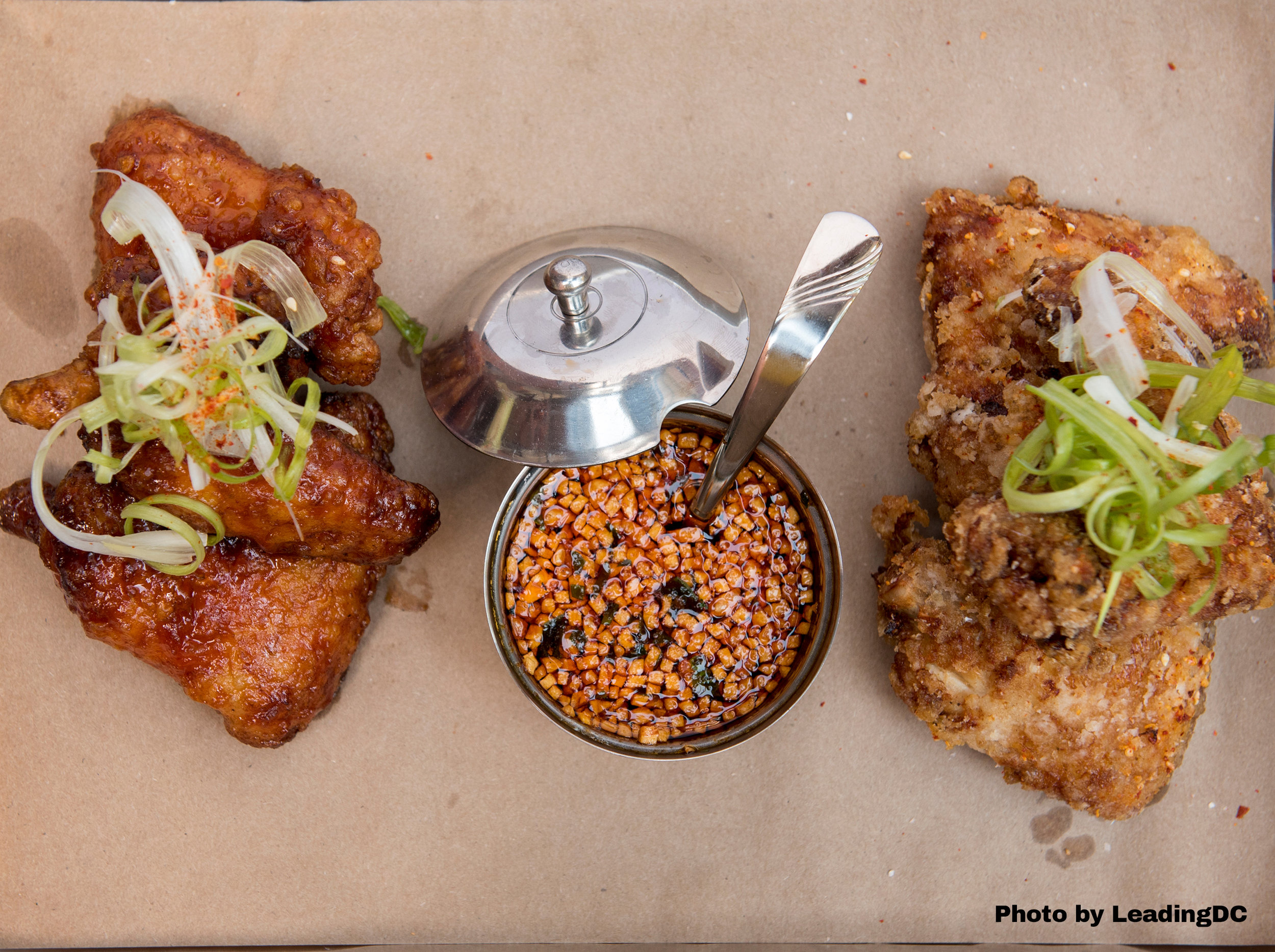 Double-fried chicken wings: spicy soy glazed or dry spiced
