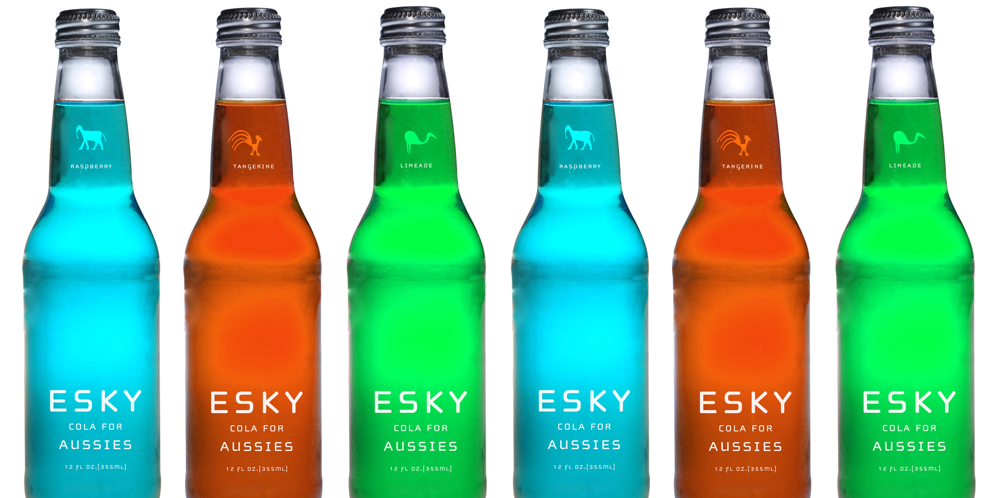 PACKAGING  Esky Cola  This proposed packaging line uses clean, clear modern lines of straight forward bottling with simple mono color typography and ethnic pictograms. The result is a product that captures a young and current Australian youth in a sophisticated fashion.