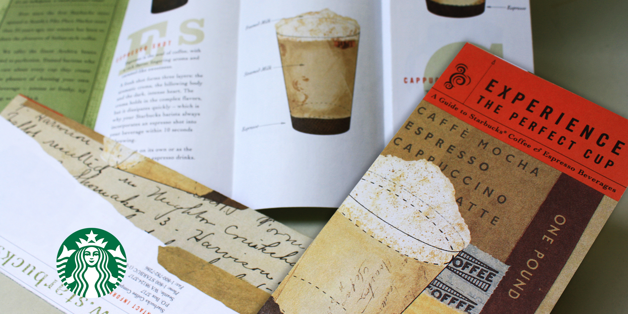 BROCHURE / ILLUSTRATION  Starbucks Coffee  This brochure system was one of six that communicated various coffee education to Starbuck's customers. The use of ephemeral collage in layers was an effective approach in depicting what goes into each type of coffee.