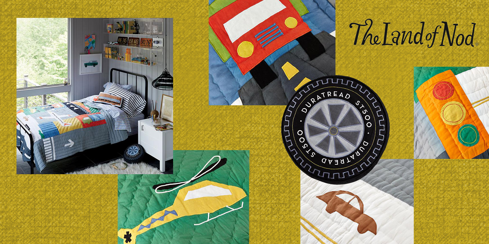 ILLUSTRATION & PRODUCT  Land of Nod  The national children's store needed a new quilt and pillow update to their proven and successful transportation category. We delivered a whimsical and colorful solution with fun shapes and textures depicting the bustling urban machines. A quilt, sheets and coordinating tire and truck pillows were produced.
