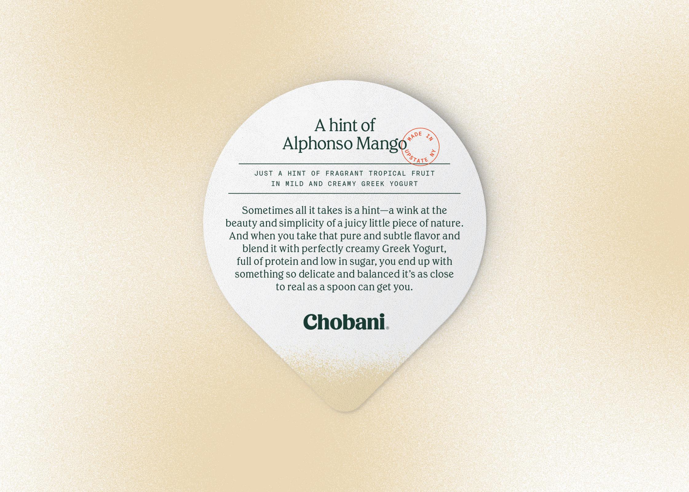 Chobani® A hint of Alphonso Mango