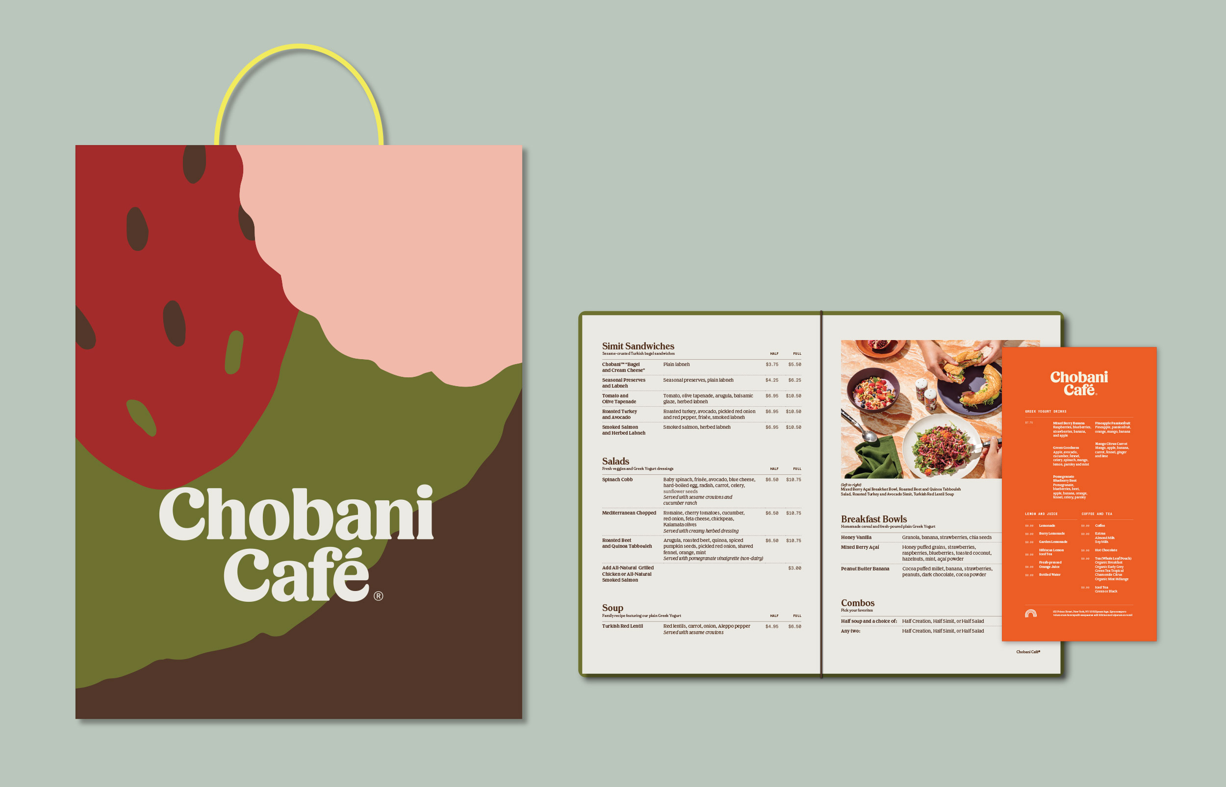 Shopping bag and hardcover menu