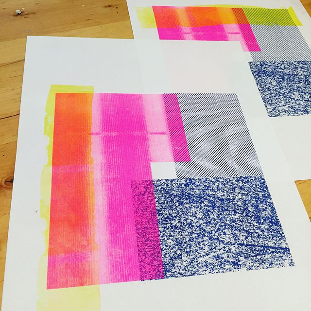 One more week of classes and it's a treat to be in the studio! The Risograph prints in the adult class are hot! #risograph