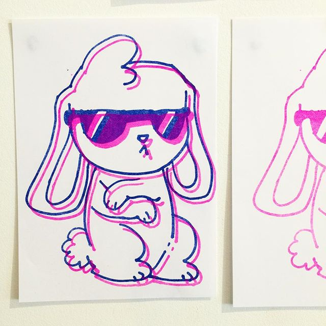 Risograph misregistered prints are the best #childart #risograph illustration by Maggie