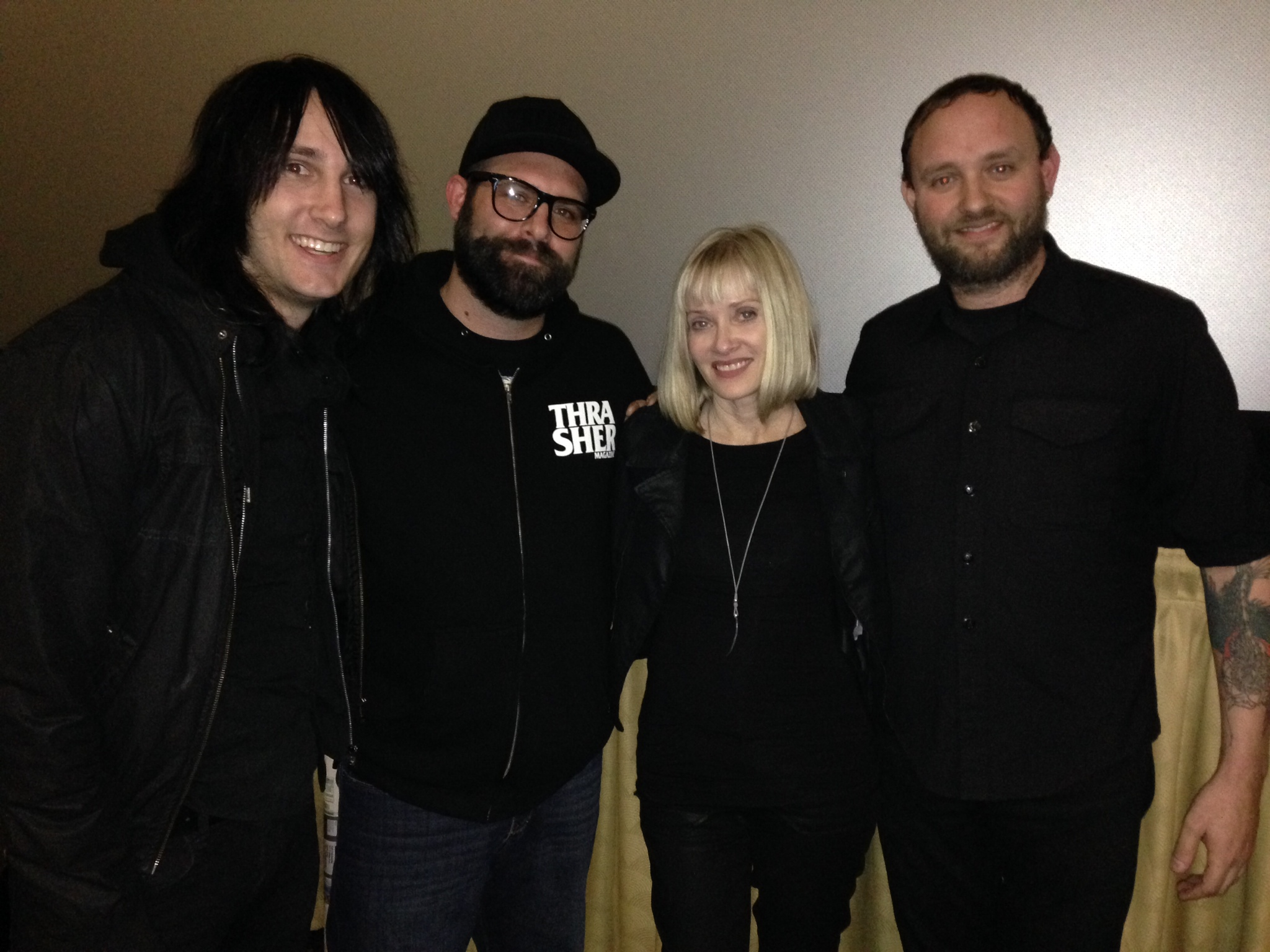 So stoked to meet Barbara Crampton!! from left to right the Forever Midnight Podcast crew! , Jef Overn, Brian Henderson, Barbara Crampton and Josh Staples.