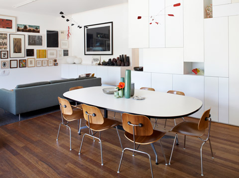 The living, dinning and kitchen areas share one space in this stylish, sustainable home.