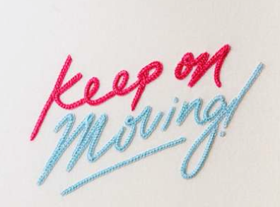 'Keep on Moving!' 2014  Hand embroidery on cotton fabric.