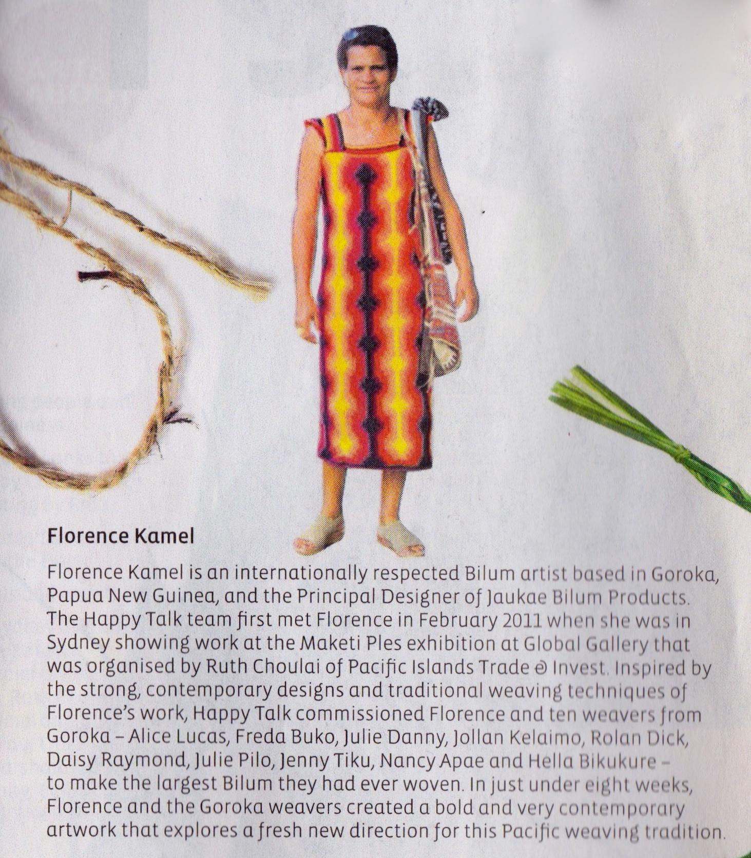 Florence Kamel in the Kalibobo dress,  Happy Talk  publication 2011.