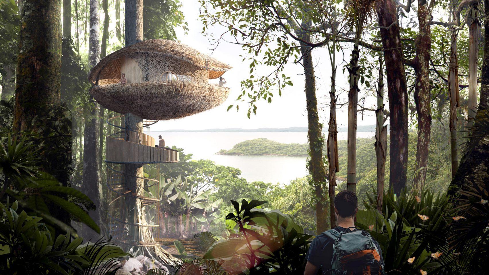 Baca Architects, Bíku Treehouse Retreat, concept for an eco hotel, Panama Island, 2017.