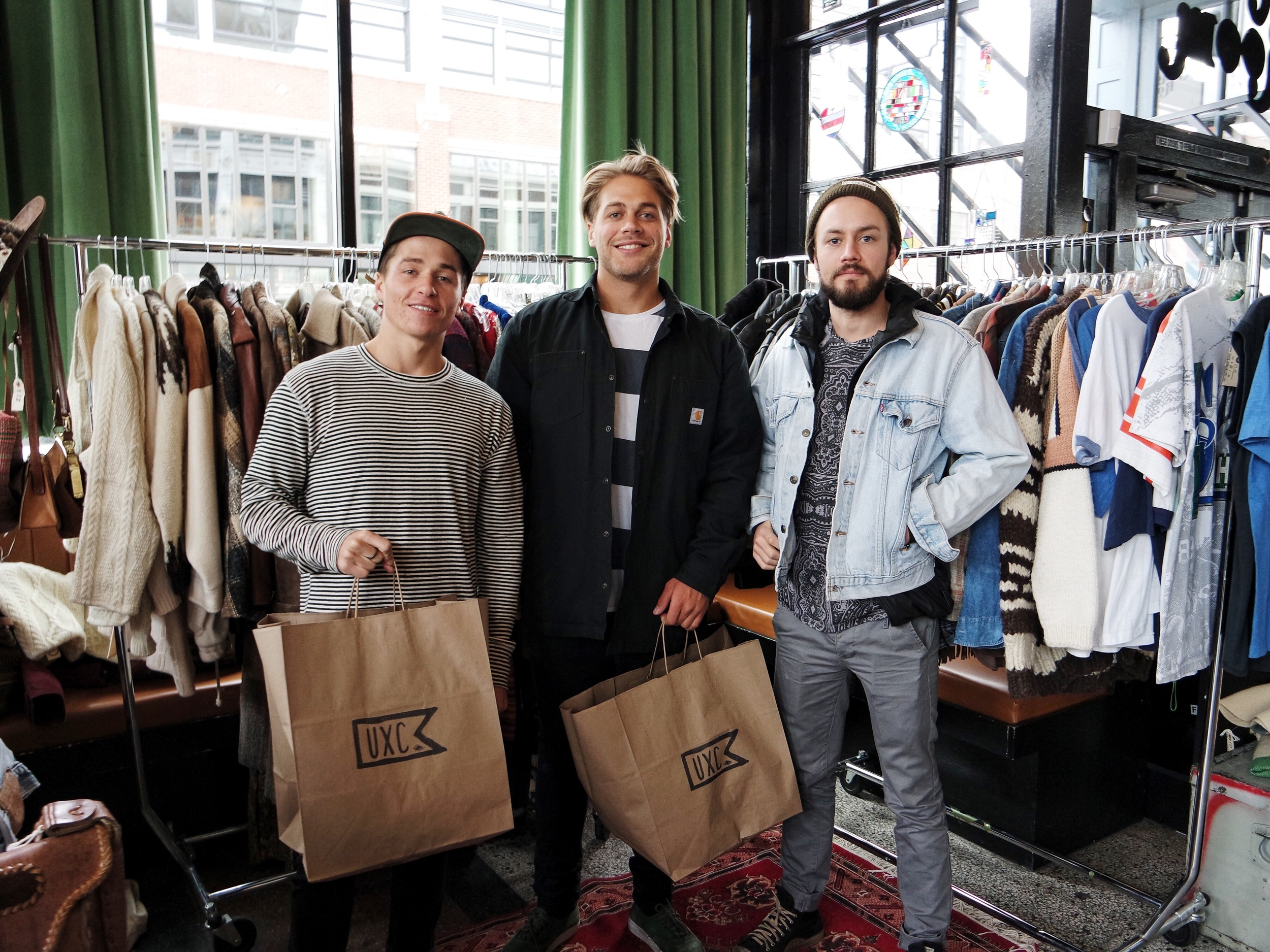 """If I remember correctly these 3 dudes each bought a vintage Levi's denim jacket and rolled out with smiles on their faces! And they were Aussies and super nice. They really liked Brookes """"jumper"""", which means sweater in Australia. Rad dudes."""