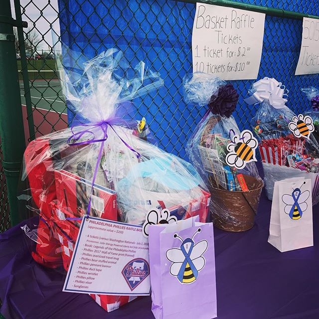 Lots of great basket raffles today! Anybody want some Phillies tickets and swag?? ⚾️😁🐝💜 #JLS5K #springford #fundraiser #royersford