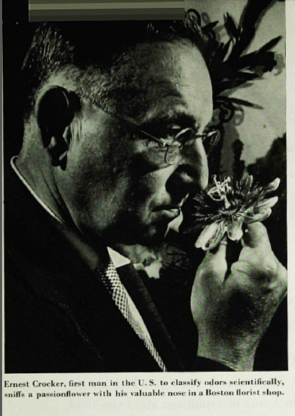 "The passions of Ernest Crocker, ""first man in the U.S. to classify odors scientifically,"" from Robert M. Yoder, ""The Man with the Million Dollar Nose,""  Saturday Evening Post,  September 29, 1951, p. 27."