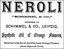 "An advertisement from 1899 for Schimmel's Synthetic Oil of Orange Blossoms, ""identical with the oil distilled from Orange Flowers."" Methyl anthranilate was a crucial component in this compound."