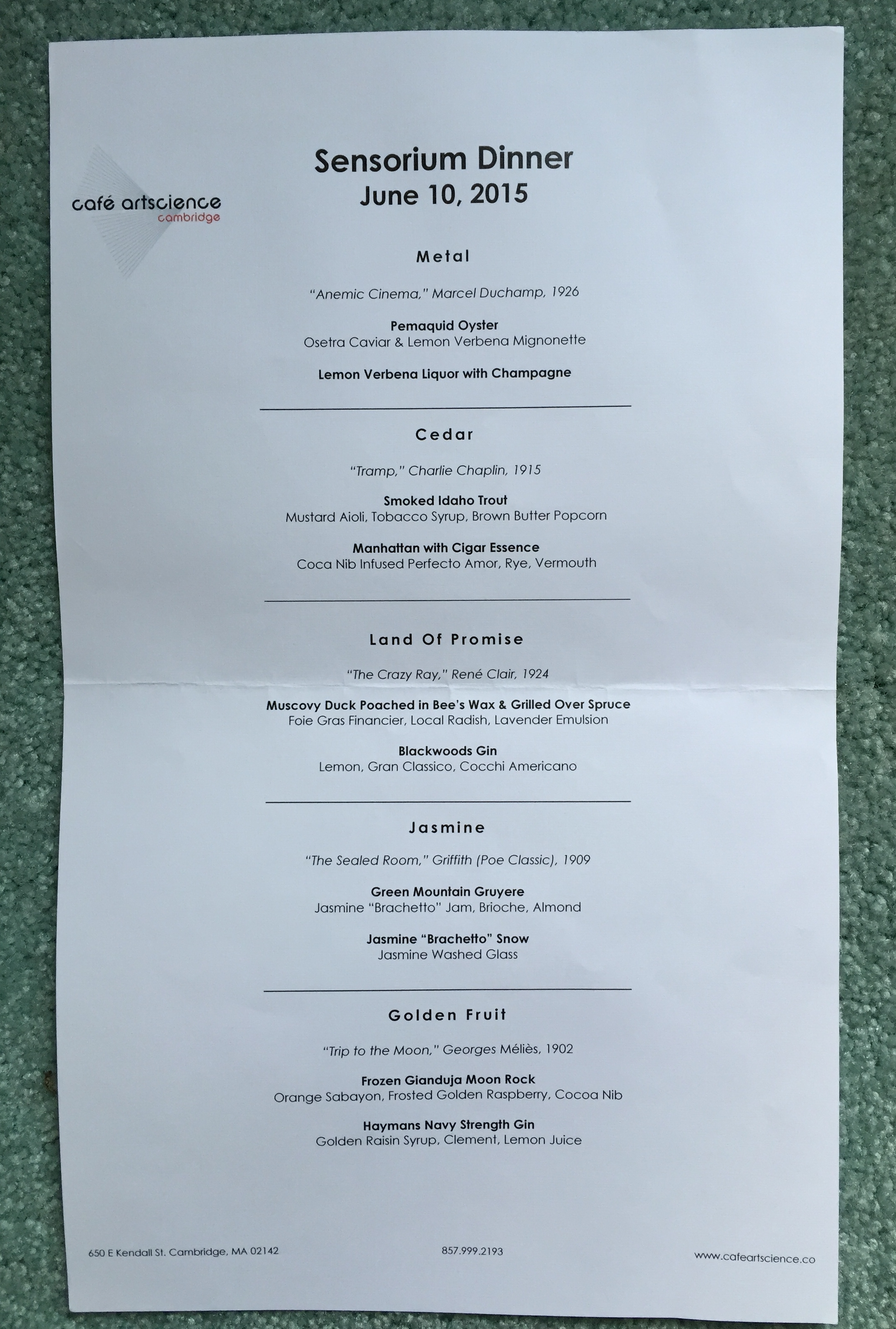 The menu of sensations at the Sensorium Dinner, June 10, 2015.
