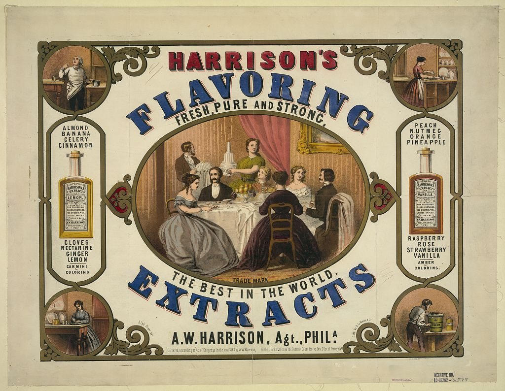 "Harrison's Extracts, the best in the world. Some of these flavors were likely made with ""natural"" ingredients (clove, cinnamon, ginger, lemon), some with synthetic chemicals (pineapple, peach, banana, strawberry, raspberry.) Image from Library of Congress."