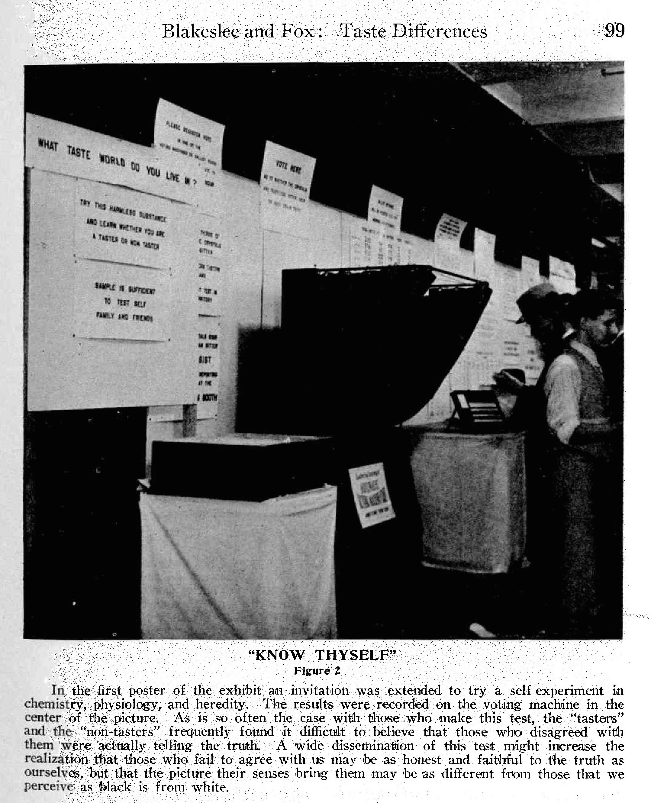 """What Taste World Do You Live In?"" ""Know Thyself"" ""Vote Here"" ... In the Taste Exhibit at the 1931 New Orleans meeting of the AAAS, messages of self-knowledge, scientific participation, and civic engagement intermingled. Image from the March 1932 Journal of Heredity."