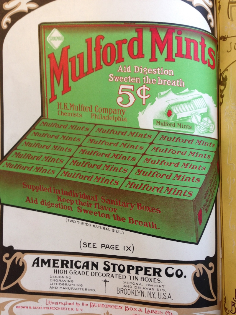 "One of the beautiful color lithographed advertisements in American Perfumer & Essential Oil review, this 1913 ad for Mulford Mints draws attention to their ""individual sanitary boxes"" which ""keep their flavor."""