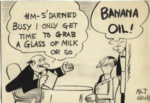 "Milt Gross, pioneering cartoonist, illustrating the real meaning of ""banana oil!"" (ie, bullshit.)"