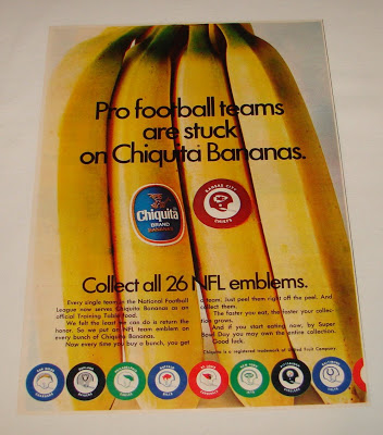 Chiquita banana ad from 1970 that I found on the internet (and now can't find the source of), demonstrating the fruit's considerable potential as a cross-branding platform.