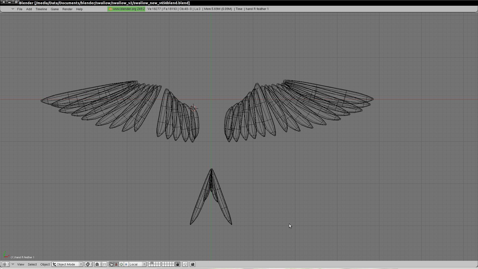 Each feather is modeled as a separate softbody, so it will bend according to air friction when moved.