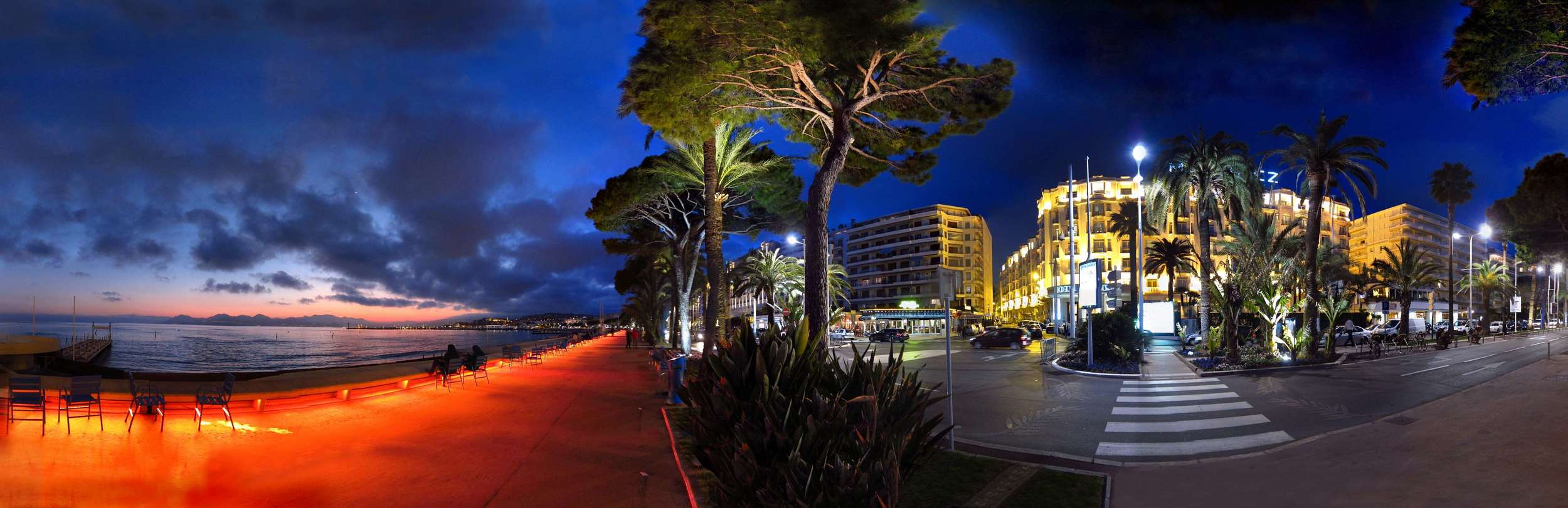 Panorama stiched from about 20 photographs taken 2012 in Cannes, France.