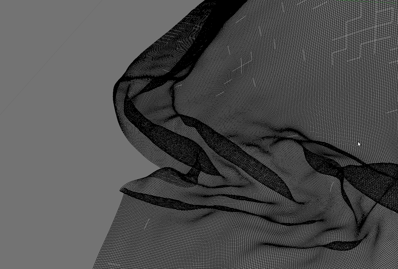 Close up of original mesh produced by calulating a softbody  simulation with blenders physics engine. At this point, the number of  vertices is way to high to be used as a part of a scene (1.8 mio  vertices).