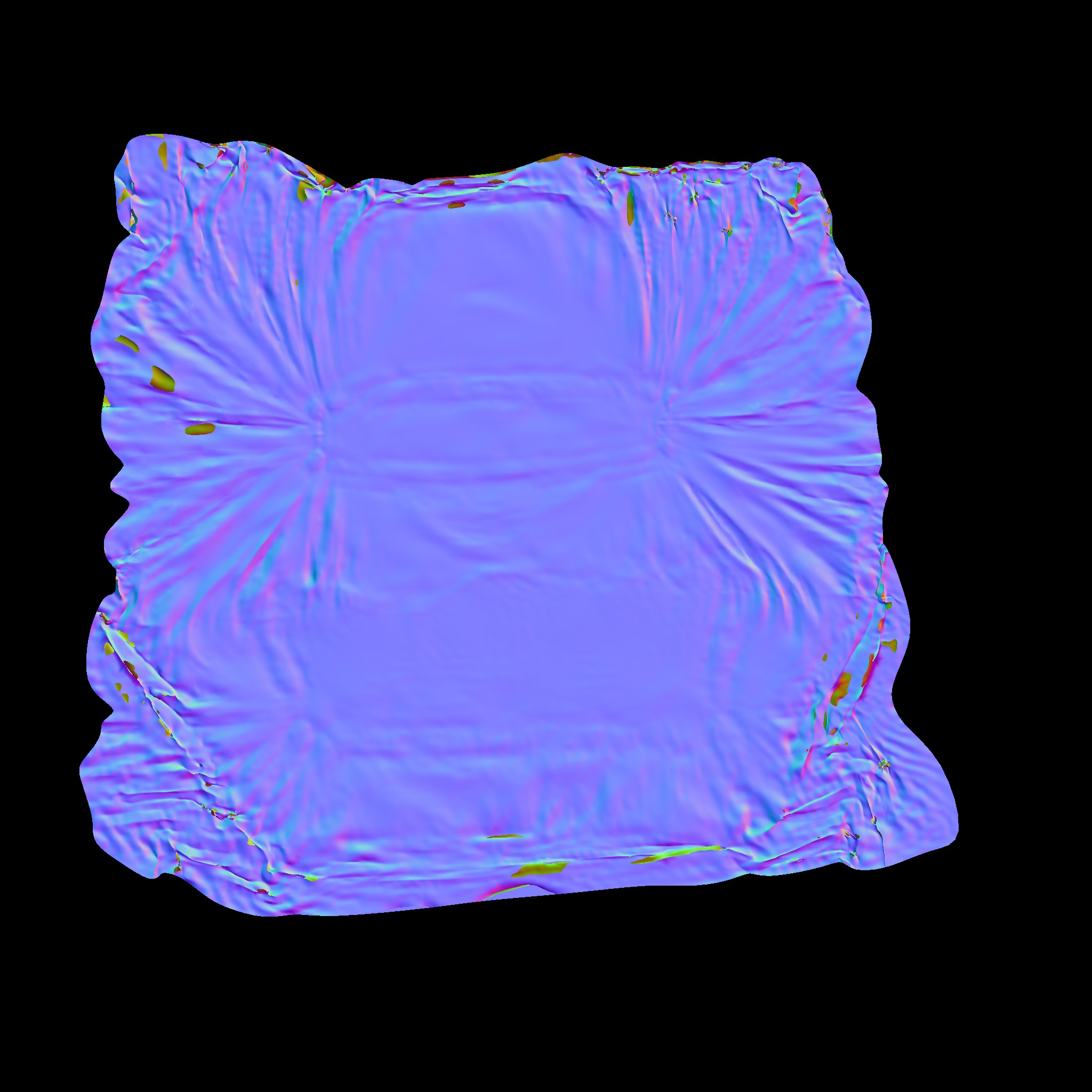 The caluclated difference between the the smoothed low-poly and the  high-poly version as a normal-map, using blenders 'bake to texture'  functionality.