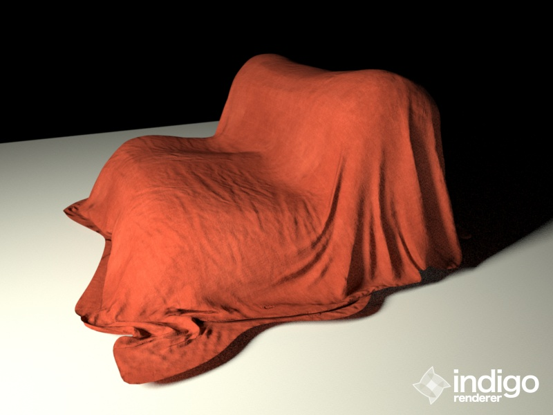 Final low-poly model with additional fine detail normal map defining cloth texture and albedo texture.