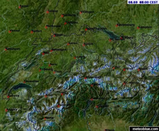 precalculated cloud-free satellite image