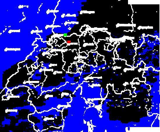 result of nearest blue pixel search (green dot)