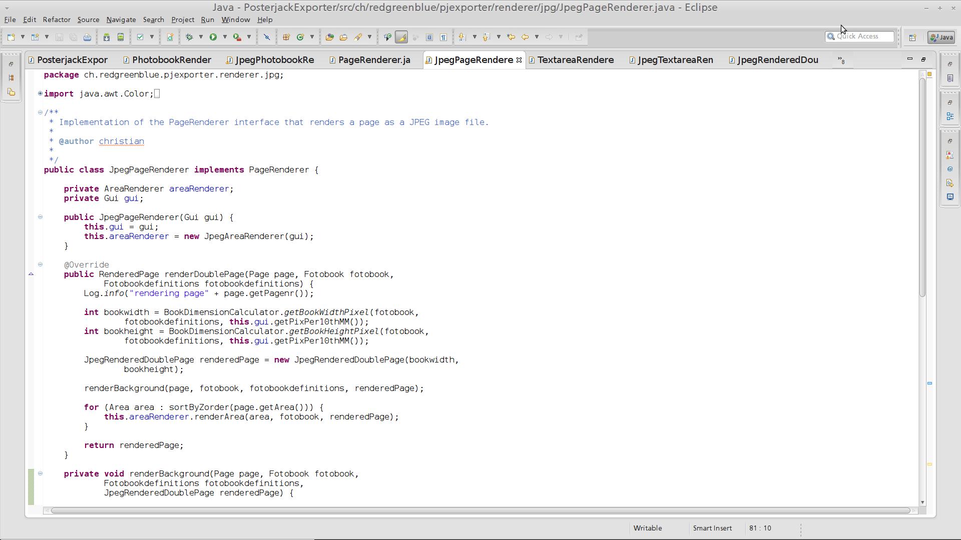 Some random sample of the exporter code written in Java