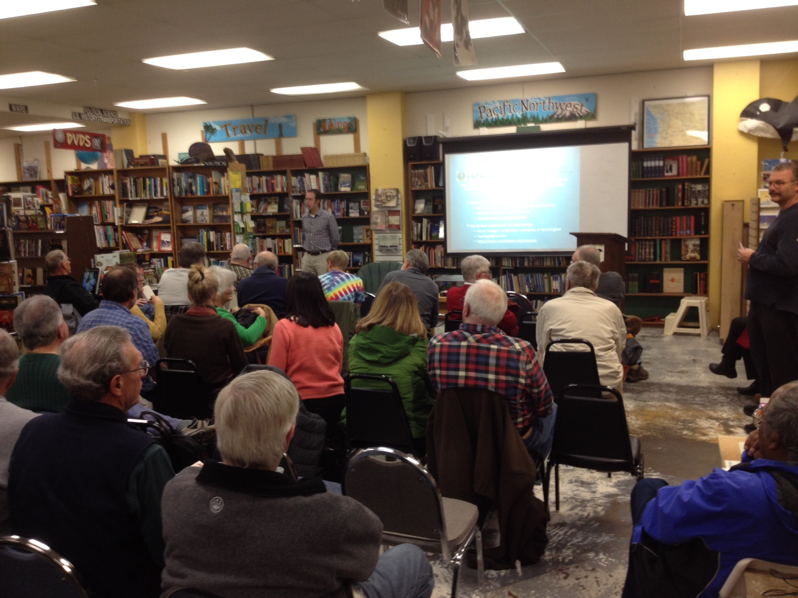 Tidal Turbines drew a full house at Orca Books last night in Olympia for the monthly Science Cafe.