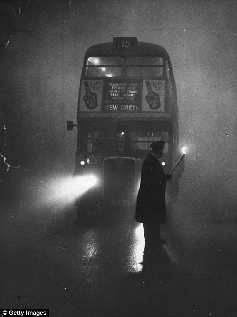 """The Great Fog of December 1952 reduced visibility in London to ten feet. This thick fog--a stratus cloud--was known as a """"pea souper."""""""