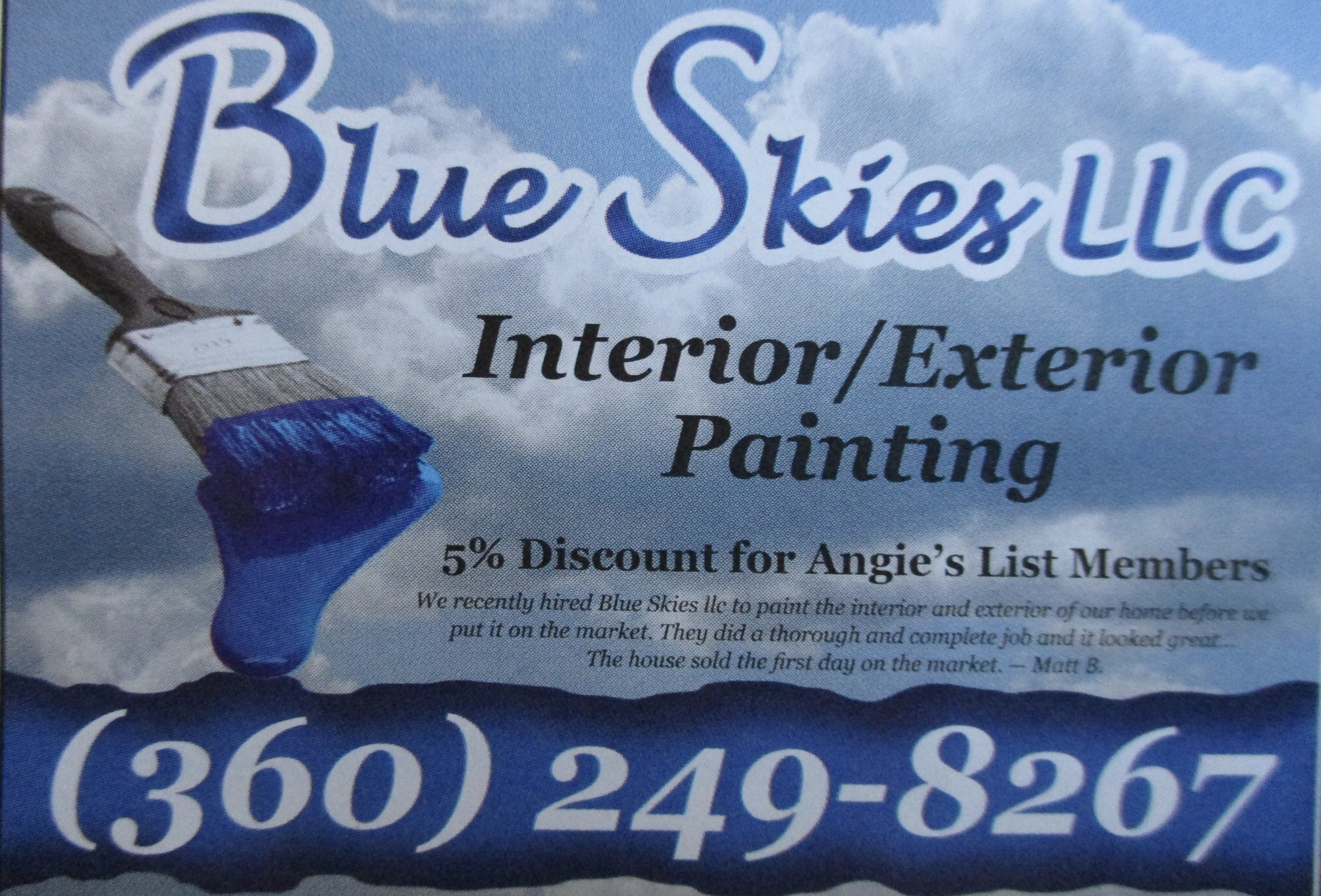 Why all the clouds if it's Blue Skies LLC? Because the sky without clouds is, dare I say, boring. As is a business card. You'll notice clouds used frequently in print media as a backdrop for book or magazine articles even if the subject is not clouds.