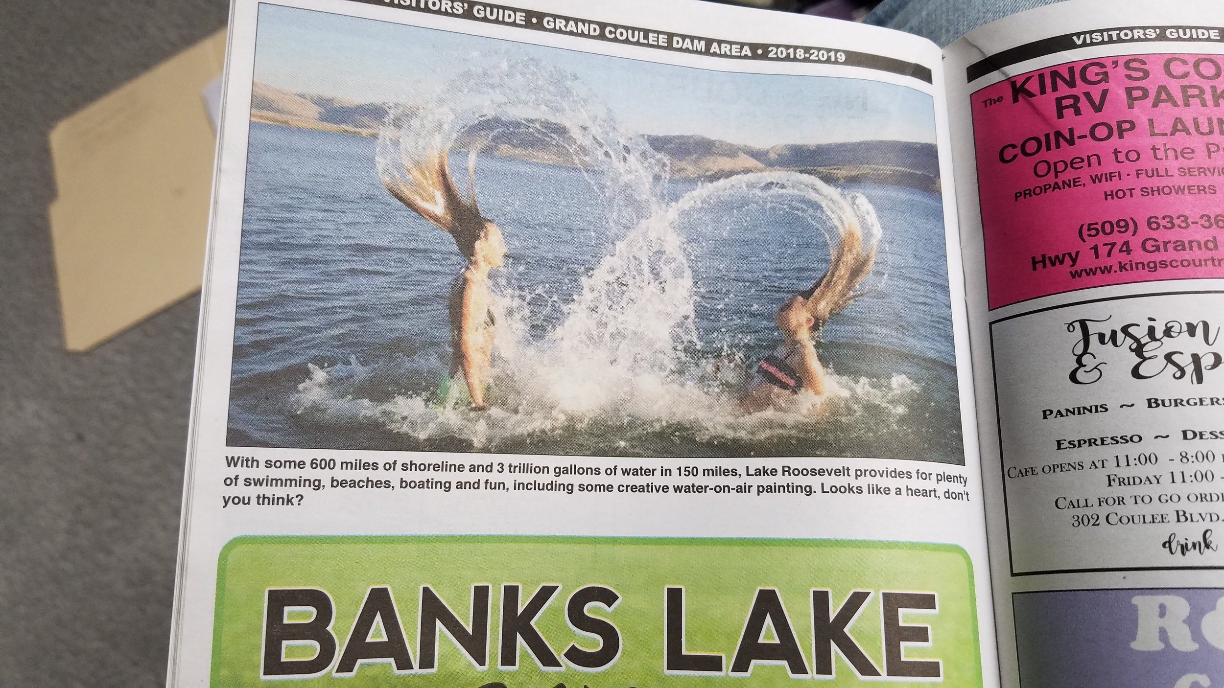 Look how fun water can be in in its liquid state! The lakes around the Grand Coulee Dam in eastern Washington attracts crowds of recreational boaters, fishers, swimmers, and frolickers in summer and fall.
