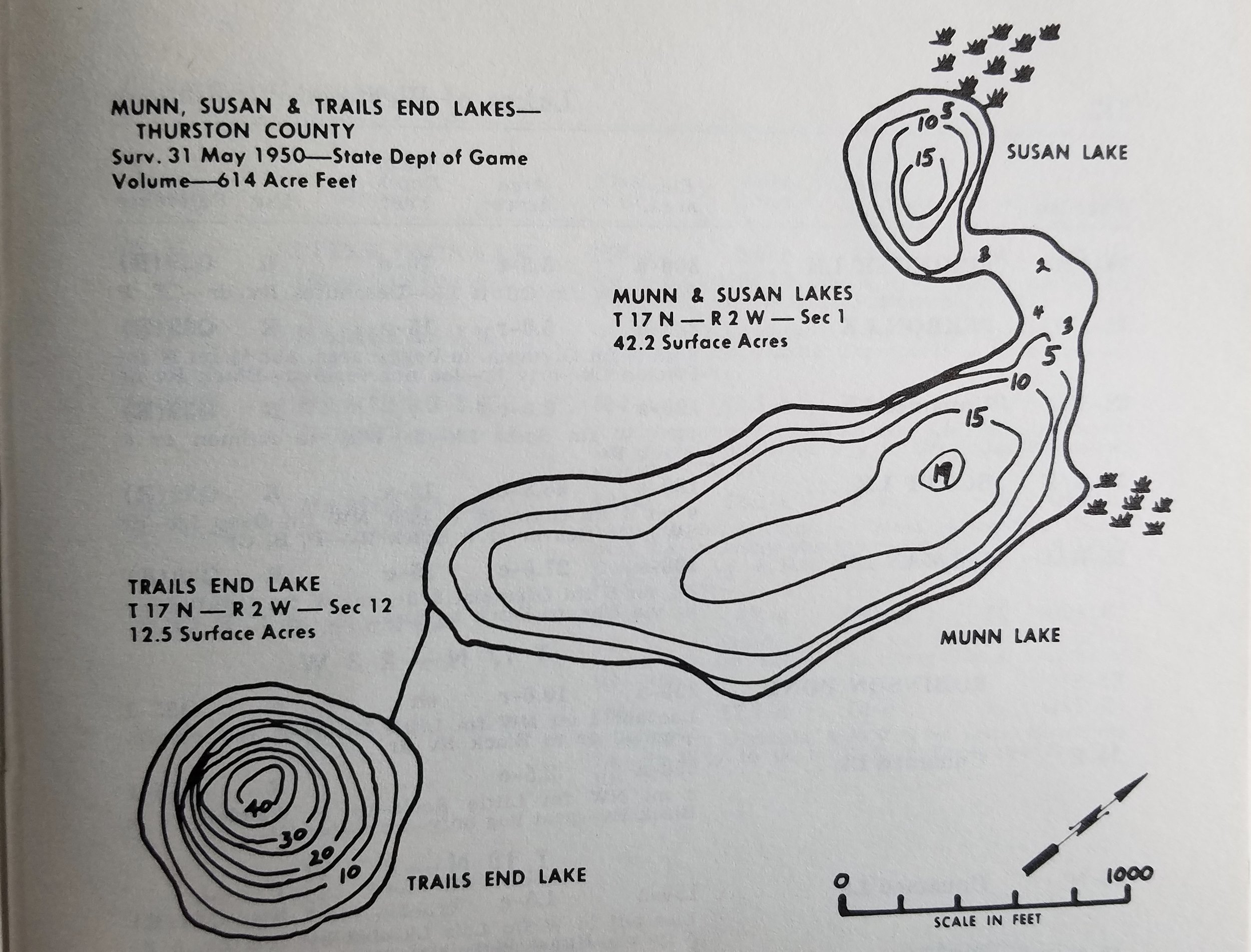 Contours of Munn Lake from the marvelous 2-volume inventory,   Lakes of Western Washington   ,  by Earnest Woodcut. Washington Dept. of Ecology, 1973. (Both Susan and Trails End Lake are not publicly accessible)