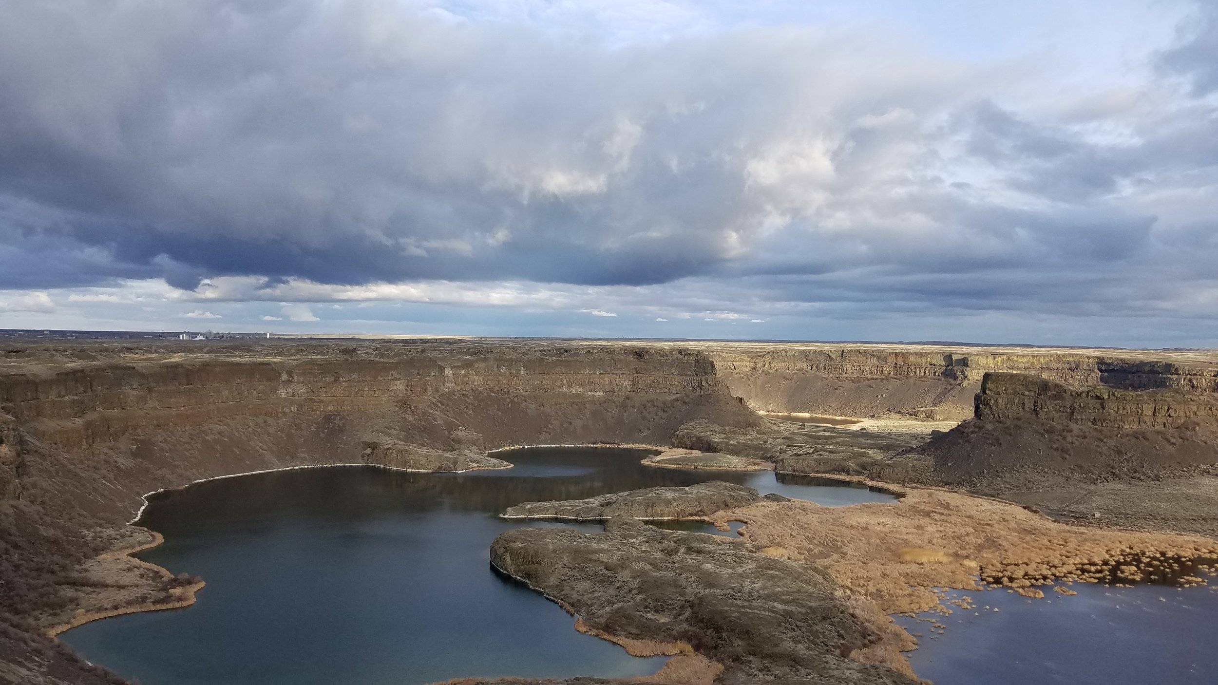 The calm after the storm: Dry Falls , just south of Coulee City, WA, marks the southern end of the 27-mile-long Banks Lake.