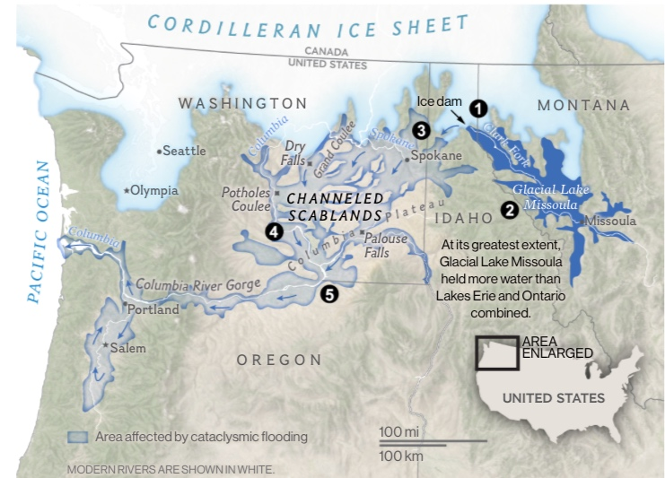 "Map from National Geographic's ""Channeled Scablands."" Read excellent story  here."