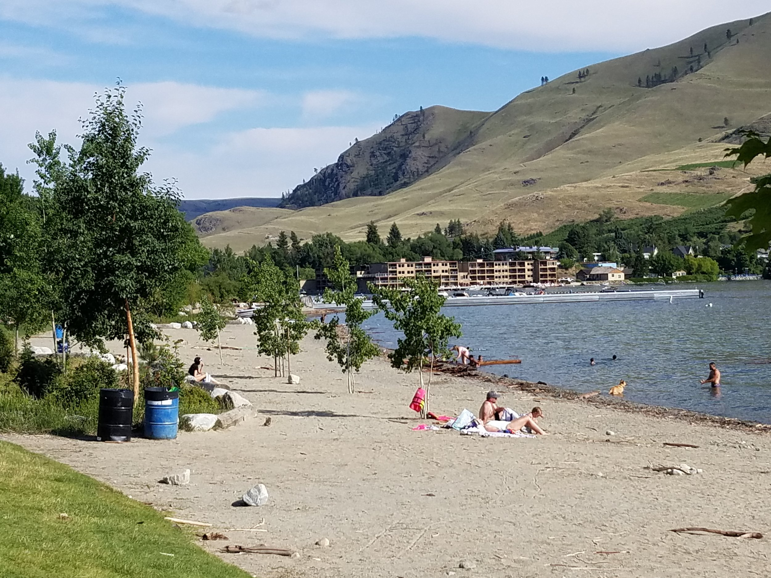 Mild, not wild. The south end of Lake Chelan in July is a popular destination. The water was warm enough to be popular for swimming (not just dipping 'n' screaming) and clear enough to see all the way to the bottom. (Photo by M.M Ruth)